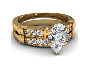 Hoop Pattern .75 Ct Pear Shaped D-Color Diamond Cathedral Pave Bridal Rings Set 14K Yellow Gold Ring Size-6