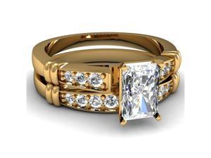 0.75 Ct Radiant Ideal Cut Diamond Cathedral Engagement Wedding Rings Set VVS1 GIA 14K Yellow Gold Ring Size-5