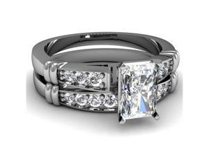 1 Ct Radiant Cut Diamond Cathedral Engagement Wedding Rings Set Cut: Very Good 14K White Gold Ring Size-9