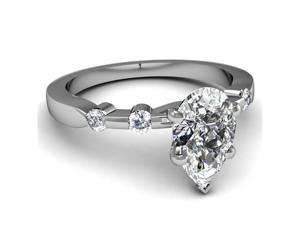 1 Ct Pear Shaped D-Color Diamond Engagement Ring Bone Style SI2 14K White Gold Ring Size-5