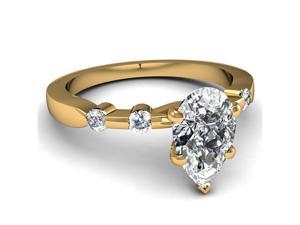 1 Ct Pear Shaped D-Color Diamond Engagement Ring Bone Style SI2 14K Yellow Gold Ring Size-8