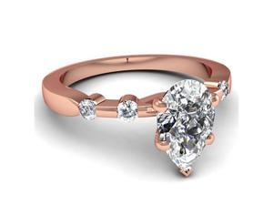 1 Ct Pear Shaped D-Color Diamond Engagement Ring Bone Style SI2 14K Rose Gold Ring Size-7
