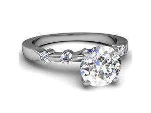 0.60 Ct Round Cut Diamond Engagement Ring Bezel Set 14K White Gold SI2 E Cut:Very Good GIA