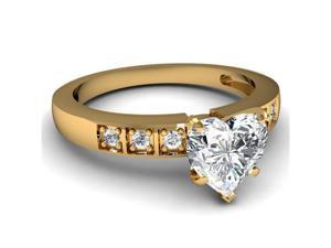 0.55 Ct Heart Shaped Diamond Engagement Ring 14K Yellow Gold SI2 CUT: VERY GOOD GIA Ring Size-8