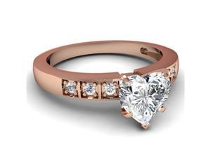 0.55 Ct Heart Shaped Diamond Engagement Ring 14K Rose Gold SI2 CUT: VERY GOOD GIA Ring Size-9