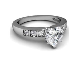0.55 Ct Heart Shaped Diamond Engagement Ring 14K White Gold SI2 CUT: VERY GOOD GIA