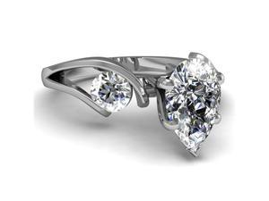 1 Ct Pear Shaped 3 Stone Diamond Past Present Future Engagement Ring D-COLOR GIA 14K White Gold