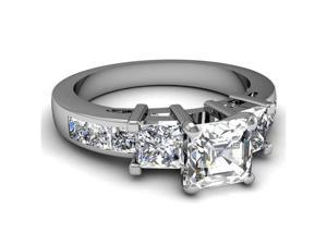 1.85 Ct Asscher Ideal Cut Diamond Engagement Ring Channel Set 14K White Gold VVS1 GIA