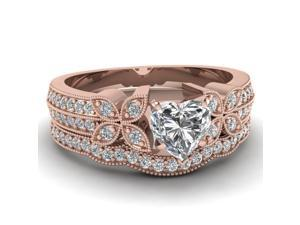 .90 Ct Heart Shaped Diamond  Engagement Wedding Rings Pave Set F-Color 14K