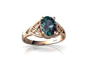 Alexandrite Celtic Trinity Ring 14K Rose Gold Lab Created Oval