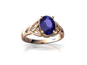 Lab Sapphire Celtic Trinity Ring 14K Rose Gold Lab Created Oval