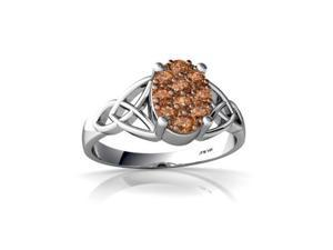 Cognac Diamond Celtic Trinity Ring 14K White Gold Genuine Oval
