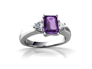Amethyst Ring 14K White Gold Genuine Emerald-cut