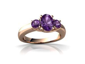 Amethyst Ring 14K Rose Gold Genuine Oval
