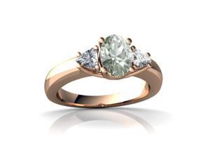 Green Amethyst Ring 14K Rose Gold Genuine Oval
