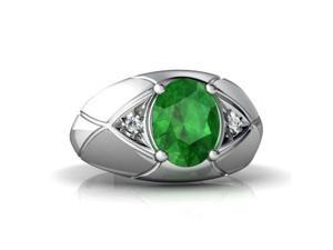 Emerald Men's  Men's Ring 14K White Gold Genuine Oval