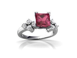 Tourmaline Engagement Ring 14K White Gold Genuine Square