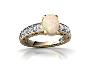 Opal Ring 14K Yellow Gold Genuine Oval