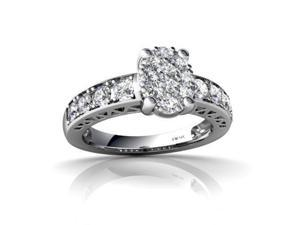 White Diamond Ring 14K White Gold Genuine Oval