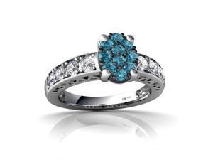 Blue Diamond Ring 14K White Gold Genuine Oval