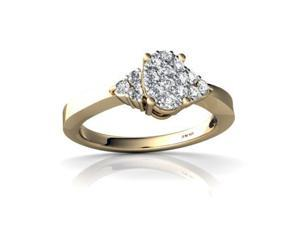White Diamond Ring 14K Yellow Gold Genuine Oval