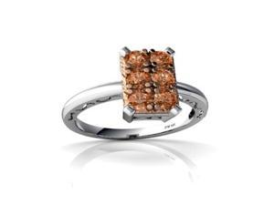 Cognac Diamond Milgrain Ring 14K White Gold Genuine Emerald-cut