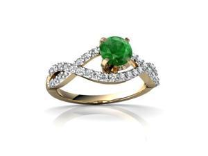 Emerald Engagement Ring 14K Yellow Gold Genuine Round