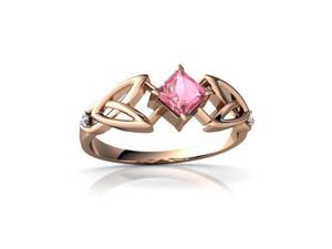 Pink Sapphire Celtic Knot Ring 14K Rose Gold Lab Created Square