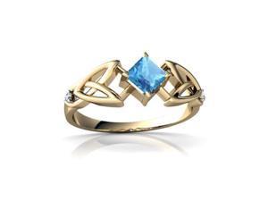 Blue Topaz Celtic Knot Ring 14K Yellow Gold Genuine Square