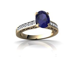 Sapphire Engagement Ring 14K Yellow Gold Genuine Oval