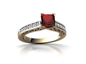 Garnet Engagement Ring 14K Yellow Gold Genuine Square