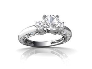 White Topaz Engagement Ring 14K White Gold Genuine Round