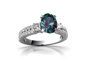 Alexandrite Engagement Ring 14K White Gold Lab Created Oval