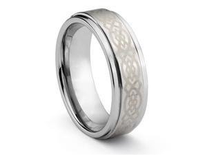 8MM Tungsten Carbide Mens Wedding Band Ring w/Laser Etched Celtic Design (Available Sizes 7-14 Including Half Sizes)