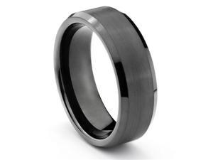 8MM Tungsten Carbide Brushed Black Mens Wedding Band Ring (Available Sizes 7-14 Including Half Sizes)