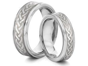 His & Her's 8MM/6MM Tungsten Carbide Silver Celtic Braided Knot Wedding Band Ring Set (Available Sizes 4-14 Including Half ...