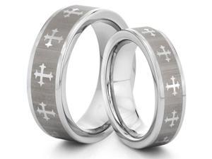 His & Her's 8MM/6MM Tungsten Carbide Silver Cross Wedding Band Ring Set w/Laser Etched Celtic Design (Available Sizes 4-14 ...