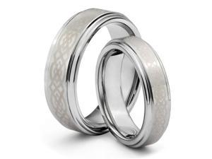 His & Her's 8MM/6MM Tungsten Carbide Wedding Band Ring Set w/ Laser Etched Celtic Design (Available Sizes 4-14 Including ...
