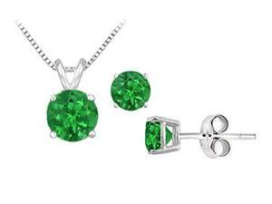 Created Emerald Solitaire Pendant with Earrings Set in Sterling silver 2.00 CT TGW