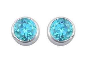 Blue Topaz Bezel-Set Stud Earrings  .925 Sterling Silver - 2.00 CT TGW