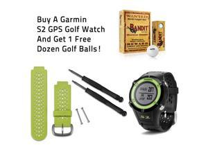 Garmin S2 GPS Watch Black and Green with Free 1 Dozen Bandit MD Golf Balls Bundle