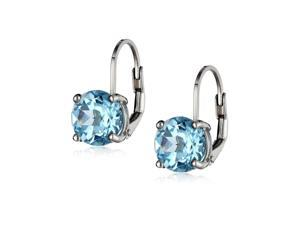 Sterling Silver 3.91 Carat Round Blue Topaz (8mm) Leverback Earrings