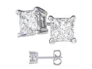 1 Carat White manmade Diamond Princess Cut Stud Earrings for Woman in 18K White Gold Designed in France by Paris Jewelry
