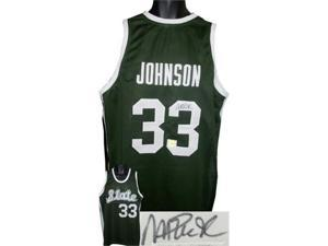 Magic Johnson signed Michigan State Spartans Green Custom Jersey