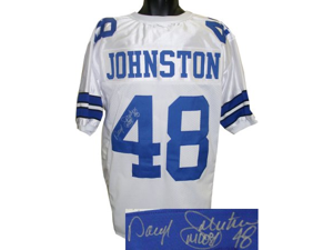 Daryl Johnston signed Dallas Cowboys White Prostlye Jersey Moose