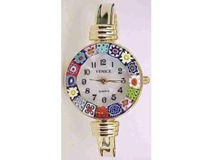 Catania Murano Millefiori Bangle Watch - Gold Tone