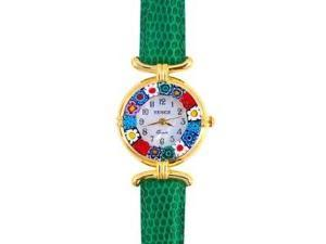 Venezia Millefiori Watch - Green Band & Gold
