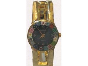 Firenze Millefiori Gold-Tone Bangle Watch - Blue Dial