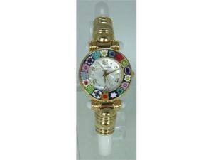 CA D'ORO Murano Millefiori Bangle Watch - Opaque Cream Bracelet