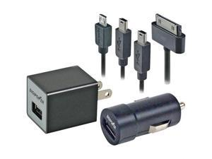DigiPower IP-PK1 five piece Home and Car Power Kit for iPad, iPhone, iPod and oth